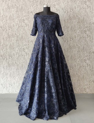 Net fabric navy color floor length gown