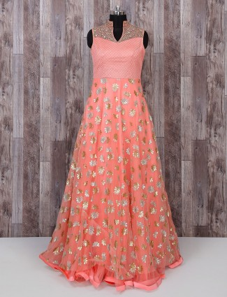 Net fabric peach designer anarkali suit