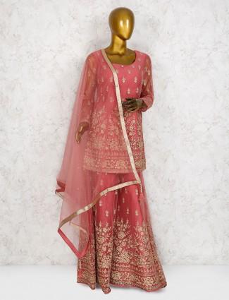 Net fabric rose pink wedding wear sharara suit
