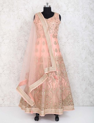 Net fabric wedding peach color anarkali suit