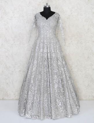 Net grey wedding wear floor length exclusive gown