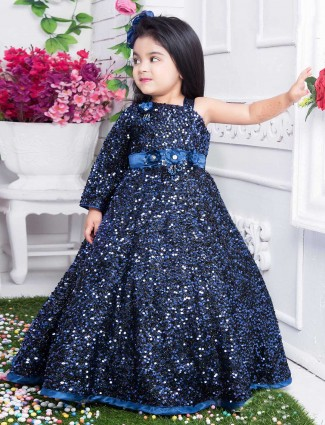 Net navy designer gown for party