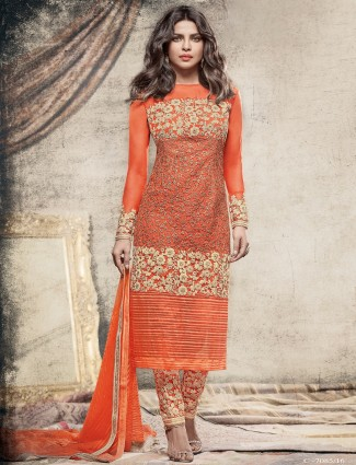 Net orange designer salwar suit