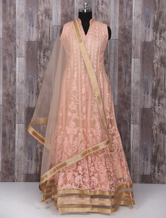 Net peach color anarkali suit