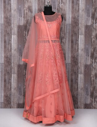 Net peach color wedding anarkali suit