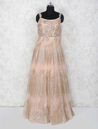 Net peach color wedding wear gown
