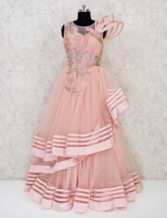 Net peach designer floor length gown