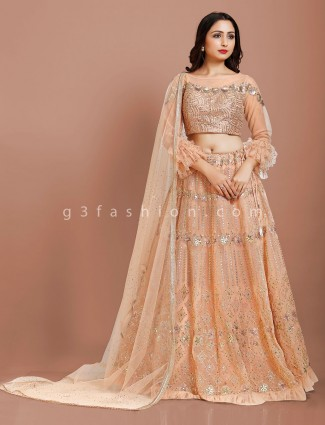 Net peach floor length designer lehenga choli