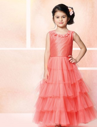 Net pink party floor length gown