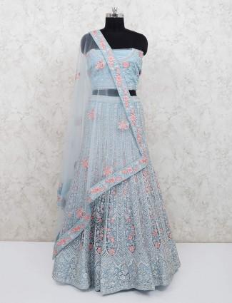 Net sky blue semi stitched lehenga choli for bridal