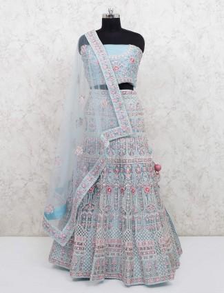 Net sky blue semi stitched lehenga choli for bride