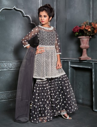 Net wedding grey punjabi sharara suit