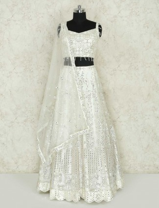 Net white lehenga choli for wedding wear