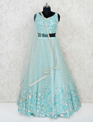 New design sky blue net wedding lehenga choli