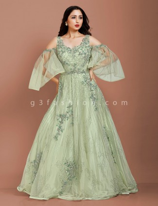 New style pista green net wedding gown