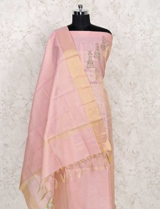 Nice cotton dress material in pink