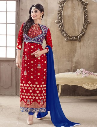Nice wedding wear red cotton ready made salwar suit