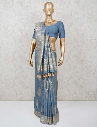 Nice zari weaving grey semi silk saree