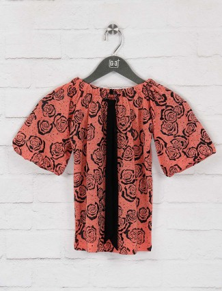 No Doubt peach color printed cotton fabric top