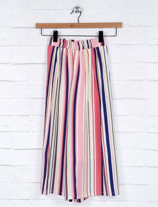 No Doubt pink color stripe pattern girls palazzo in cotton