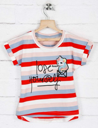 No Doubt red grey stripe cotton top