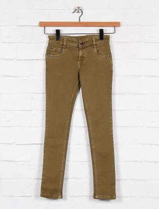 No Fear khaki color solid pattern jeans
