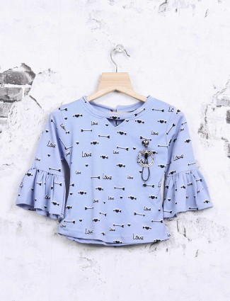 Nofear printed blue cotton top