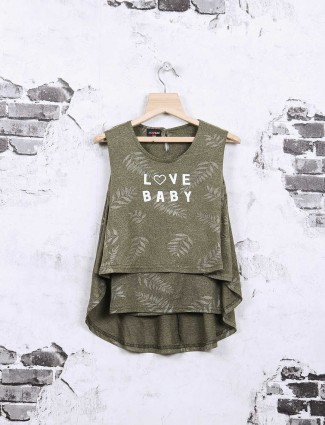 Nofear printed green top