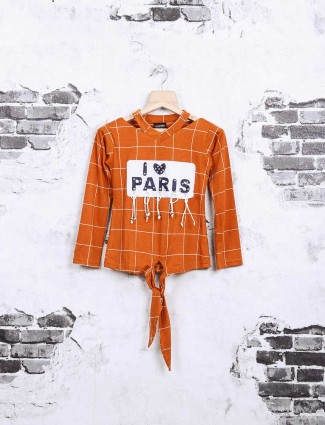 Nofear rust orange checks top