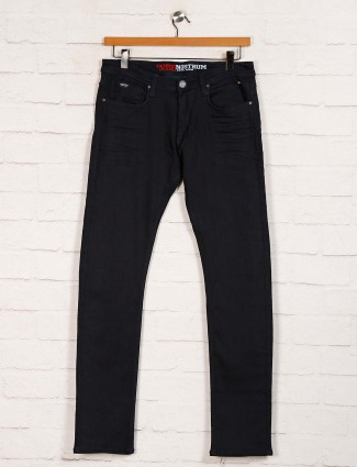 Nostrum black solid slim fit mens jeans