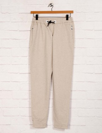 Nostrum cotton casual wear solid beige joggers