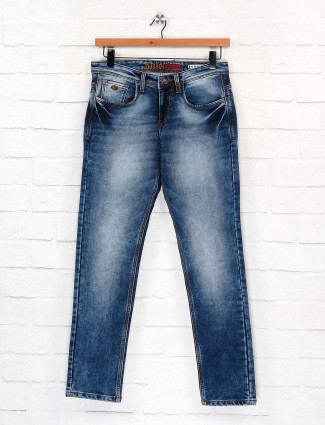 Nostrum denim blue washed slim fit jeans
