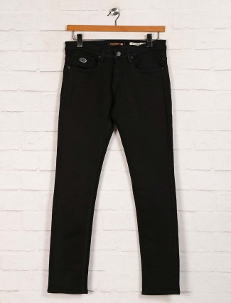 Nostrum denim slim fit solid black jeans