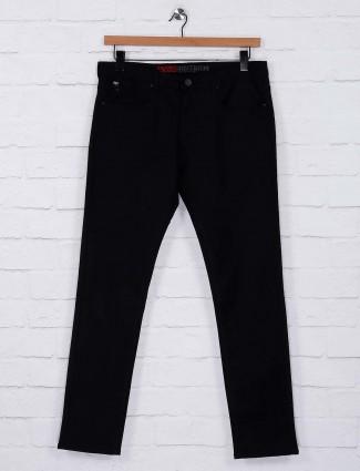 Nostrum jet black hued solid trouser