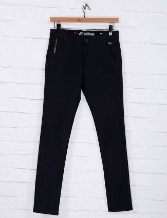 Nostrum solid black colored trouser