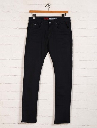 Nostrum solid black denim slim fit jeans
