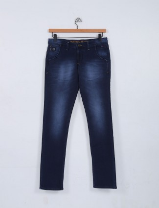 Nostrum solid navy casual jeans