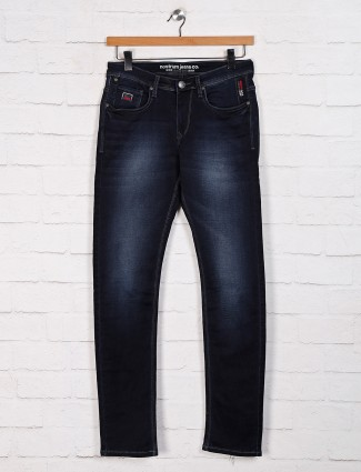 Nostrum solid navy slim fit  jeans