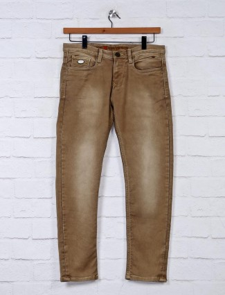 Nostrum washed brown slim fit jeans