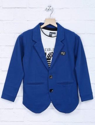 Notch lapel royal blue cotton blazer