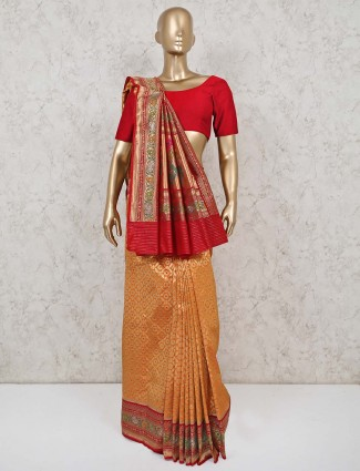 Oarange banarasi silk sari in wedding wear