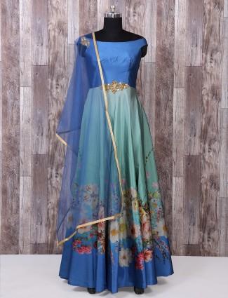 Occean blue silk anarkali suit