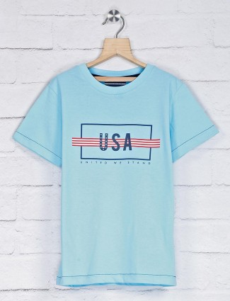 Octave aqua printed cotton t-shirt