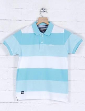 Octave casual wear aqua stripe t-shirt