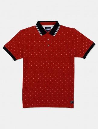 Octave maroon half sleeves printed t-shirt