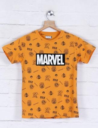 Octave mustard yellow printed boys t-shirt
