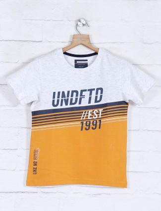 Octave mustard yellow printed t-shirt