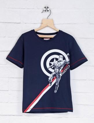 Octave navy caption america printed t-shirt