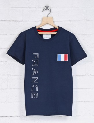 Octave navy printed casual t-shirt