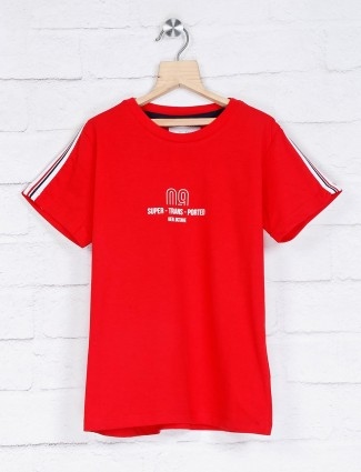 Octave slim fit red cotton t-shirt